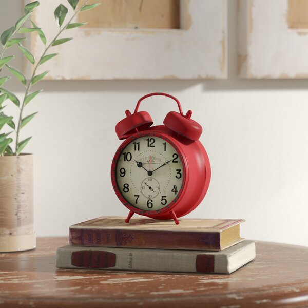 Double Bell Tabletop Clock By August Grove.