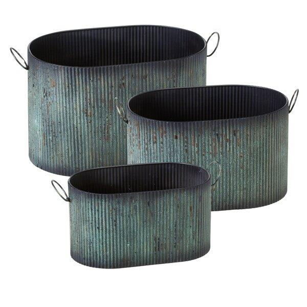 Albinson Ribbed Patina Oval 3-Piece Metal Pot Planter Set (Set of 3) by Gracie Oaks