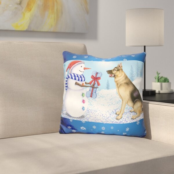 Snowman Dog Throw Pillow by East Urban Home