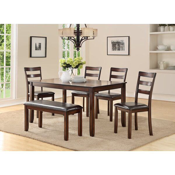 Stahr Rubberwood 6 Piece Solid Wood Dining Set by Millwood Pines