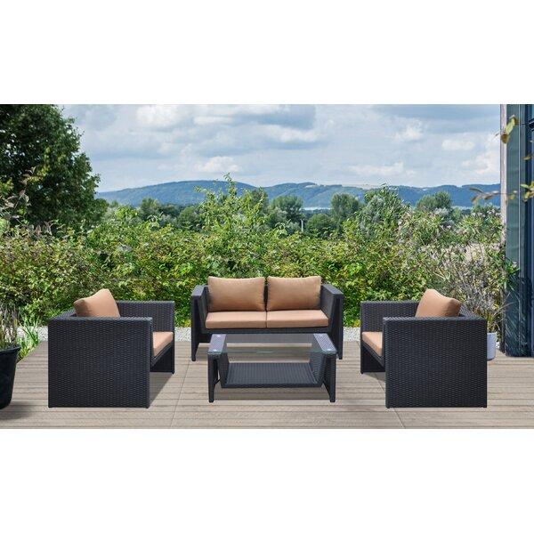 Veals 4 Piece Rattan Sofa Set with Cushions by Orren Ellis