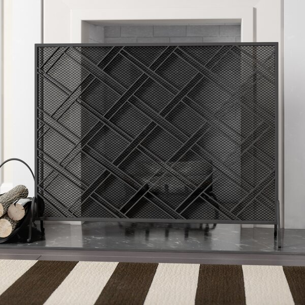 Bachar Single Panel Iron Fireplace Screen by Winston Porter