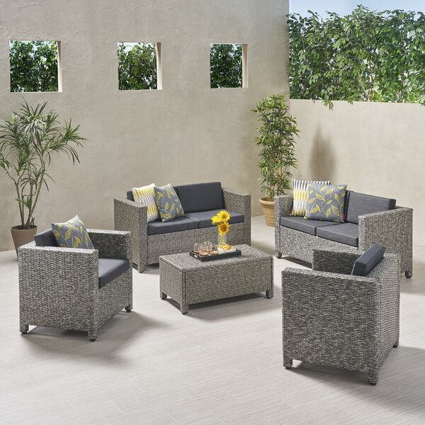 Kraemer 5 Piece Outdoor Rattan Sofa Seating Group with Cushions