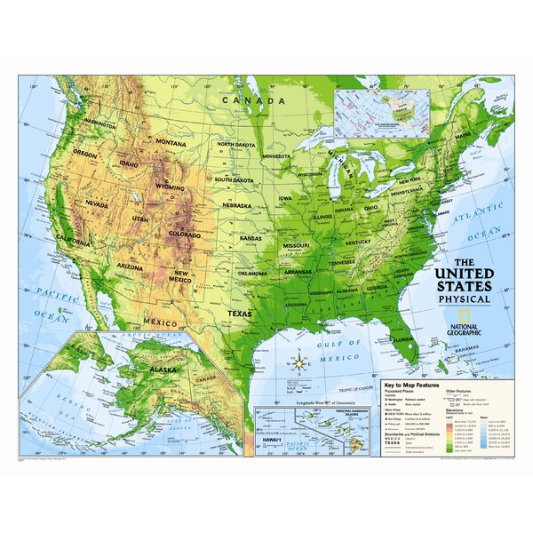 Kids Physical Usa Wall Map (graded 4-12) By National Geographic Maps ♧