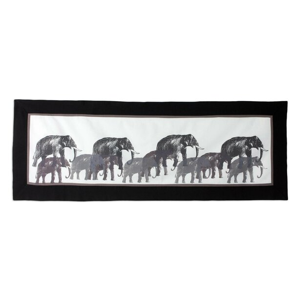 Marching Elephants Cotton Table Runner by Novica
