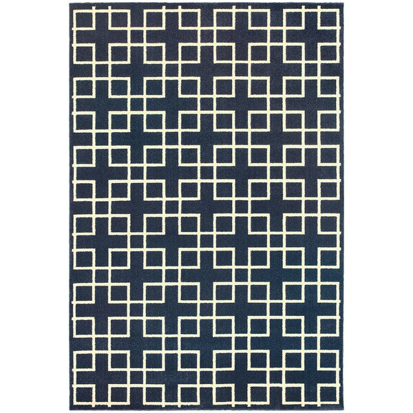 Albrecht Navy/Ivory Area Rug by Latitude Run