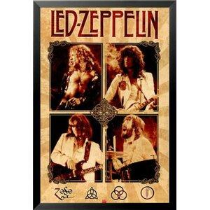 'Led Zeppelin Group Music - Jimmy Page John Bonham John Paul Jones Robert Plant' Framed Vintage Advertisement by Buy Art For Less