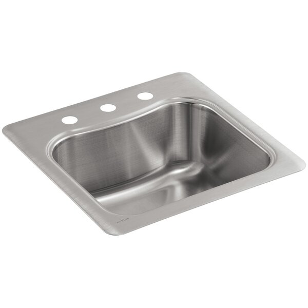 Staccato Top-Mount Single-Bowl Bar Sink with 3 Faucet Holes by Kohler