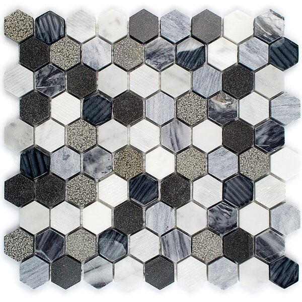 Drumlin 0.07 x 0.07 Mixed Material Mosaic Tile in Oxford Gray by Splashback Tile