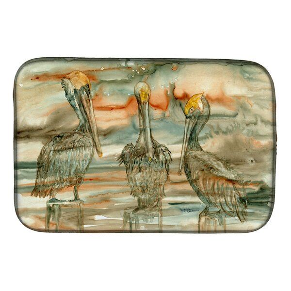 Pelicans on Their Perch Abstract Dish Drying Mat by Caroline's Treasures