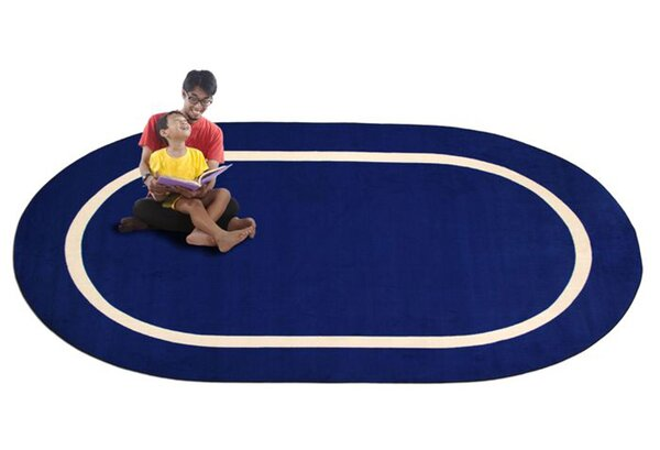 Montessori Blue with Cream Line Classroom Kids Area Rug by Kid Carpet