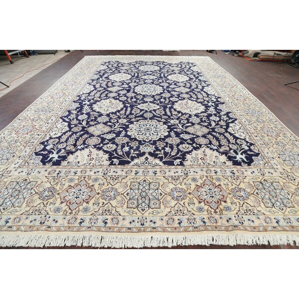One-of-a-Kind Hand-Knotted 2010s Nain Navy 12'11 x 19'7 Area Rug