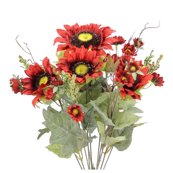 11 Stem Artificial Sunflower with Mini Berries Flower Bush by Admired by Nature