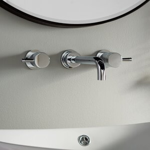 serin wall mounted double handle bathroom faucet with drain assembly