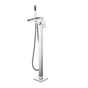 Victoria Double Handle Floor Mounted Freestanding Tub Filler with Hand Shower