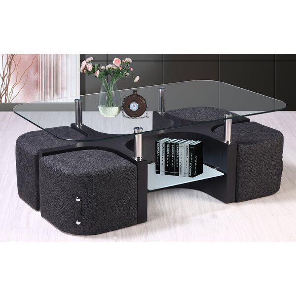 Coffee Table with 4 Nested Stools by Best Quality Furniture