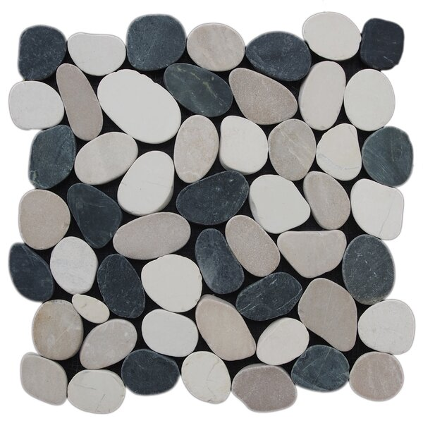 12 x 12 Natural Stone Pebble Tile in Black/White by Pebble Tile