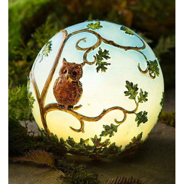 Glowing 3D Owl in Tree Gazing Globe by Plow & Hearth