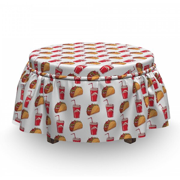 Tacos And Soda Cups With Pipes Ottoman Slipcover (Set Of 2) By East Urban Home