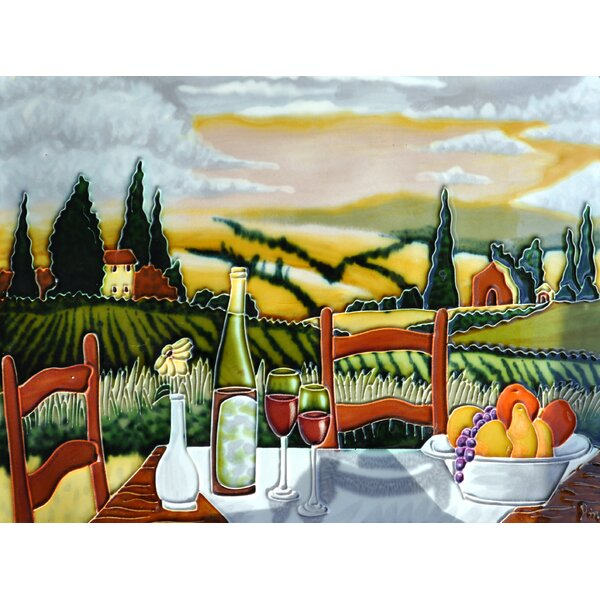 Vineyard Table and Chair Tile Wall Decor by Continental Art Center