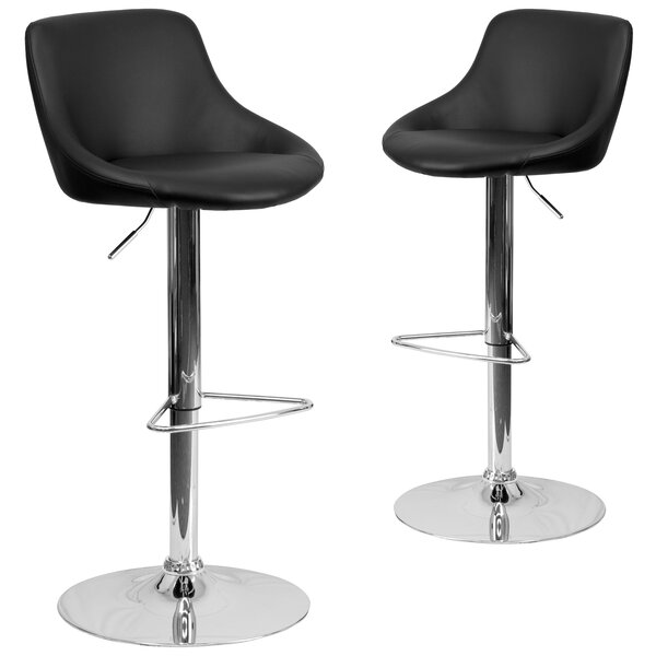 Gavin Adjustable Height Swivel Bar Stool (Set of 2) by Wrought Studio