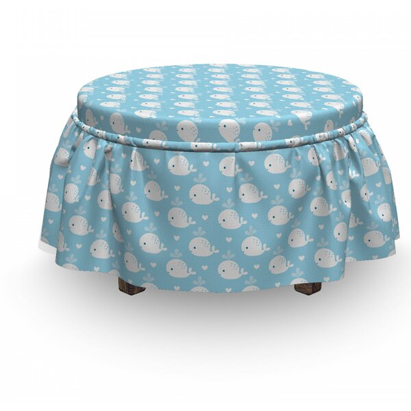 Review Whale Baby Shower Design 2 Piece Box Cushion Ottoman Slipcover Set