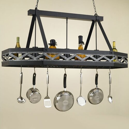 Sonoma 8 Sided Hanging Pot Rack with 3 Lights by Hi-Lite