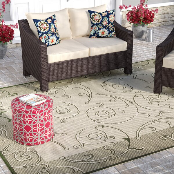 Alberty Natural/Olive Outdoor Rug by Three Posts