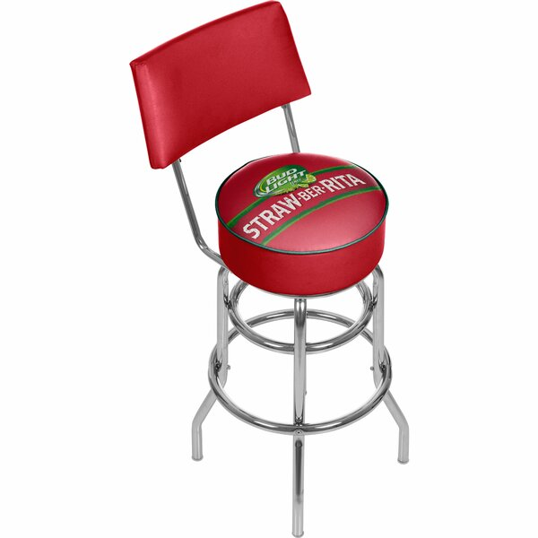 Bud Light Straw-Ber-Rita Swivel Bar Stool with Back by Trademark Global