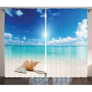 Tropical Ocean Graphic Print Room Darkening Rod Pocket Curtain Panels (Set of 2)