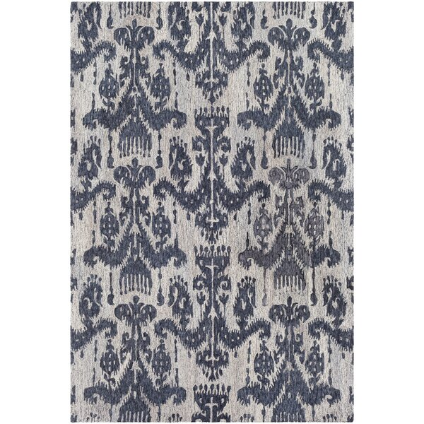 Eady Hand Hooked Wool Blue/Navy Area Rug by Bungalow Rose