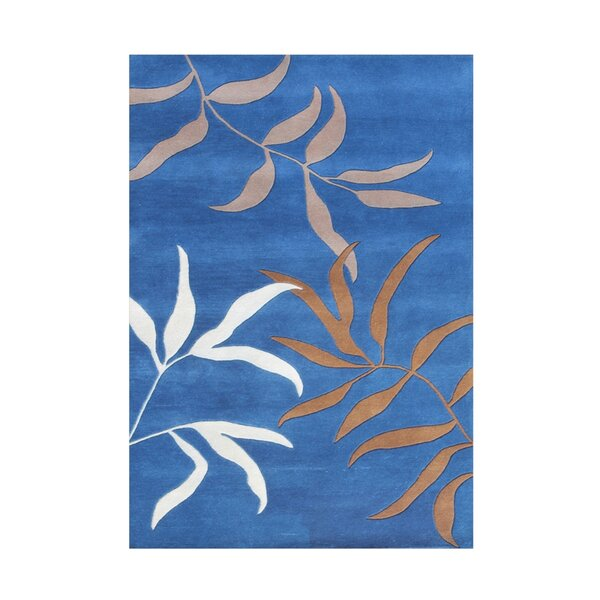 Cassano Floral Design Hand-Tufted Wool Blue Area Rug by Red Barrel Studio
