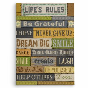 'Life's Rules' by Conrad Knutsen Textual Art on Wrapped Canvas by Wexford Home