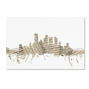 Pittsburgh Skyline Sheet Music by Michael Tompsett Graphic Art on Wrapped Canvas by Trademark Fine Art