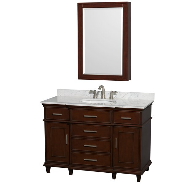 Berkeley 48 Single Dark Chestnut Bathroom Vanity Set with Medicine Cabinet by Wyndham Collection