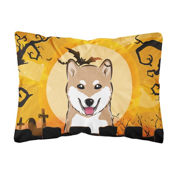 Jerrold Halloween Shiba Inu Fabric Indoor/Outdoor Throw Pillow by The Holiday Aisle