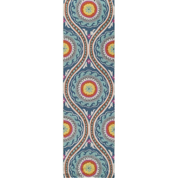 Yash Hand-Woven Orange/Blue Area Rug by Bungalow Rose