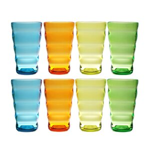 Fulmer Break-Resistant Wavy 8 Piece 25 oz. Plastic/Acrylic Every Day Glass Set