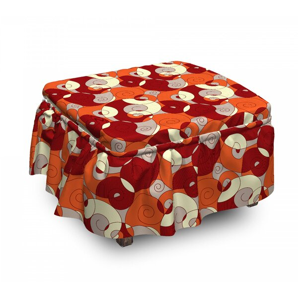 Psychedelic Spiral Ottoman Slipcover (Set Of 2) By East Urban Home
