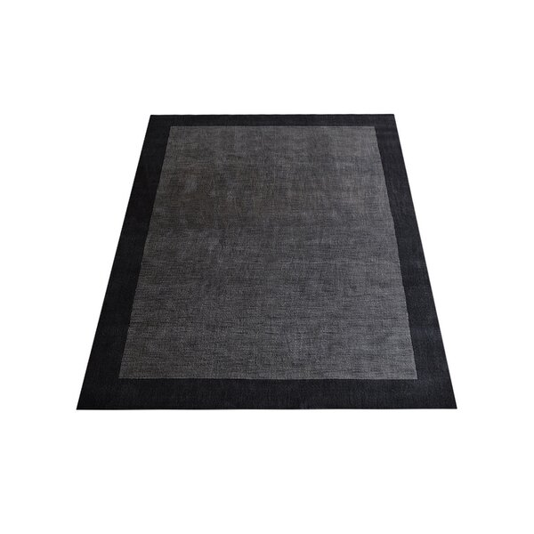 Ry Hand-Knotted Wool Charcoal/Black Area Rug by Latitude Run