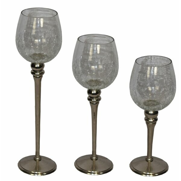 Half Crackled 3 Piece Glass Hurricane Set by Rosdorf Park
