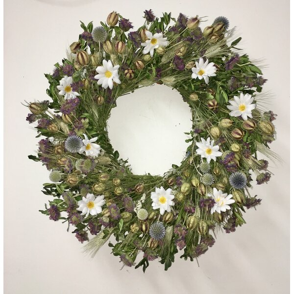 22 Silk Daisies and Boxwood Wreath by August Grove