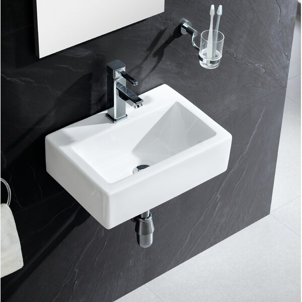 Modern Ceramic 17 Wall Mount Bathroom Sink by Fine