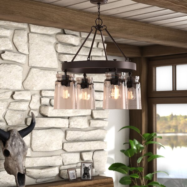 Khloe 4 - Light Shaded Wagon Wheel Chandelier with Rope Accents by Three Posts Three Posts