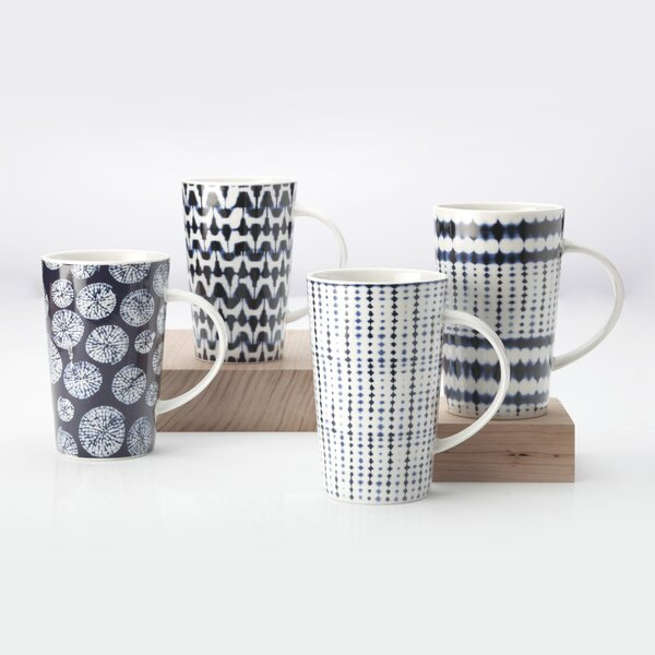 4 Piece Shibori Coffee Mug Set by Maxwell & Willia