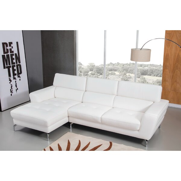 Greysen Leather Sectional by Orren Ellis