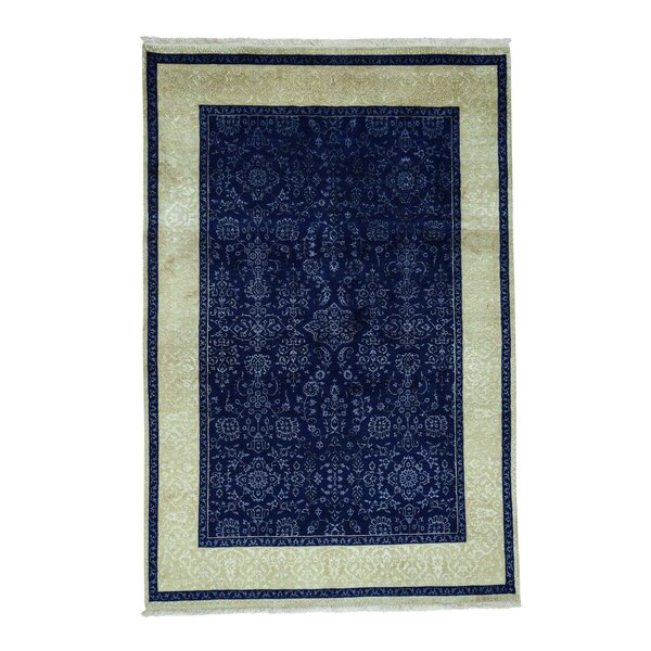 One-of-a-Kind Groover Tone-On-Tone Oriental Hand-Knotted Silk Blue Area Rug by World Menagerie