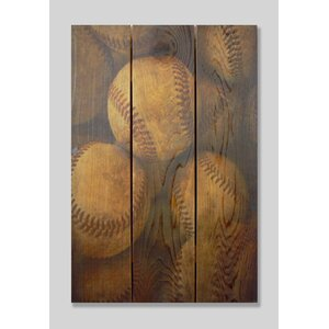 Vintage Baseball Cedar Painting Print on Cedar by Gizaun Art