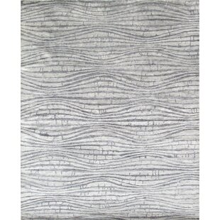 Modern Rayon From Bamboo Silk Hand Knotted Silver Area Rug