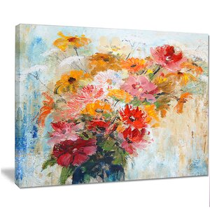 'Flowers in Vase Painted Illustration' Painting Print on Wrapped Canvas by Design Art